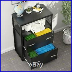 2-Drawer Lateral File Cabinet Printer Stand with Metal Wire Open Storage Shelves