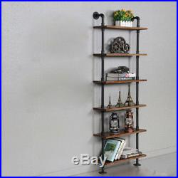3 Layer Industrial Wall Mount Ladder Bookcase Steel Pipe Wall Storage Shelf US