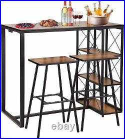3-Piece Bar Table Set with 2 Bar Stools, 3-Tier Storage Shelves, Rustic Brown