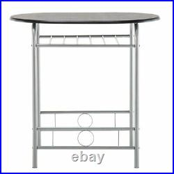 3 Piece Dining Table Set with Metal Frame and Shelf Storage Bistro Pub Breakfast
