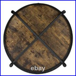 35in Coffee Table Round withIron Mesh Storage Shelf for Living Room Home Furniture