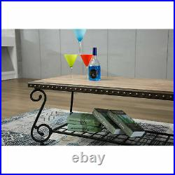 48 x 24 Wooden Coffee Sofa Table Metal Frame with Storage Shelf for Living Room