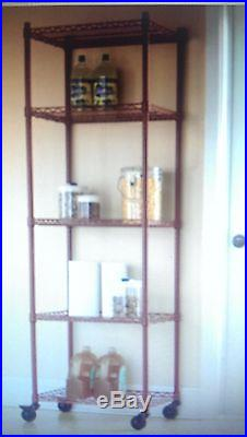 5 Shelf Rolling Metal Tower Storage 3 Colors for Kitchen, Garage, Any Room