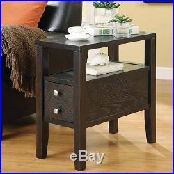 Accent Casual Chairside Side End Snack Storage Table Stand with Shelf Cappuccino