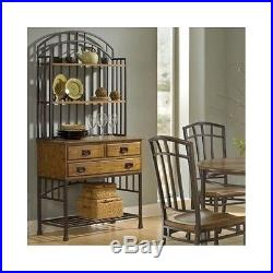 Bakers Rack With Drawers Storage Shelves For Kitchens Oak Buffet Server & Hutch