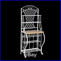 Bakers Rack With Storage Kitchen Furniture Pantry Cabinet Shelves Appliance