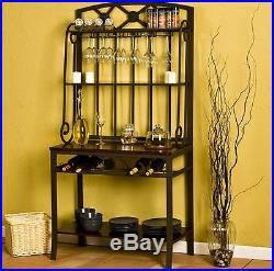 Bakers Rack With Wine Storage Kitchen Hang Shelves Glass Metal Wood Dining Room