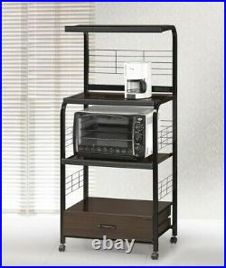 Bakers Rack Wood Microwave Cart Rolling Stand Kitchen Storage Shelf in Black