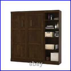 Bestar Pur 84 Full Wall Bed with 5-Shelf Storage Unit in Chocolate