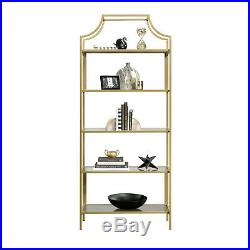 Bookcase 5 Shelves 71 Metal Construction Spacious Gold Finish Storage Indoor