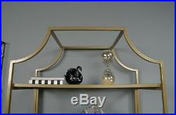 Bookcase Vintage 5-Tier with Open Shelf Gold Metal Glass Finish Storage Furniture