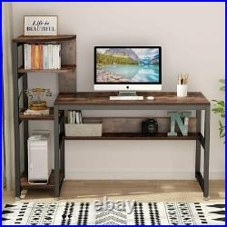 Brown Computer PC Desk Study Writing Table with Storage Shelves for Home Office