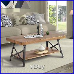 Coffee End Table with Storage Space Shelves Living Room Furniture Brown