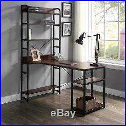 Computer Desk With4-Tiers Storage Shelves Office Study Table Home Bookshelf Metal