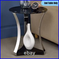 Contemporary Glass Top Round Side Table with Bottom Shelf Accent Display Storage