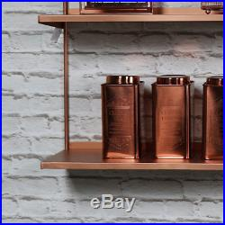 Copper Metal Wall Shelves Home Storage Chic Retro Vintage Bookcase Living Dining