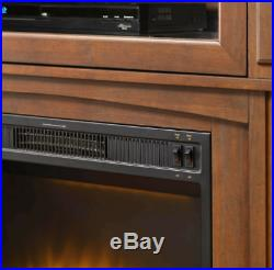 Corner Electric Fireplace with Mantle Storage Shelf Heater LED Flames TV Stand