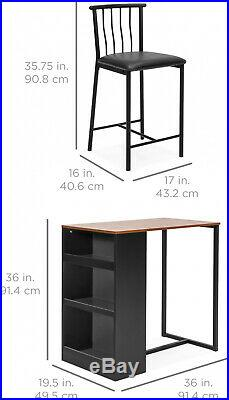 Dining Table 36 Inch Wooden Metal Kitchen Counter Set Stools & Storage Shelves