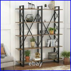 Double Wide 5-Shelf Bookcase Vintage Brown Bookshelf with Ample Open Storage Space