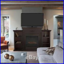 Electric Fireplace +Mantle Storage Shelf Heater LED 3D Flames TV Stand with Remote