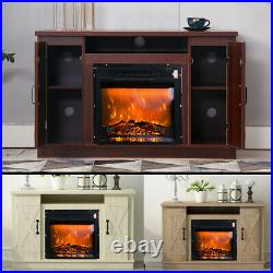 Electric Fireplace TV Stand Console Table with Storage Shelf Spacious Cabinets