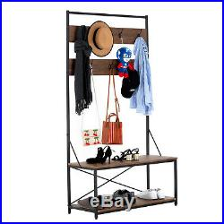 Entry Coat Hat Rack Shoe Bench Hall Tree Entryway Storage Shelf Brown with 7 Hooks