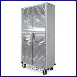 Office Or Laundry Room Work Studio Stainless Steel Doors with Key Lock Garage Metal Rolling Tool File Storage Cabinet Shelving Compliments Any Garage Warehouse