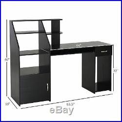 HOMCOM Storage Computer Desk Table with Slide-Out Keyboard Tray & Storage Shelving