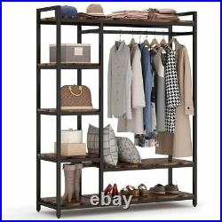 Heavy-duty Clothes Closet with Shelves& Hanging Rod Multifunctional Storage Rack