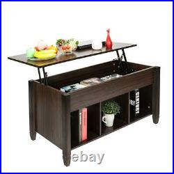 High Grade Lift Top Coffee Table with Hidden Compartment and Storage Shelves