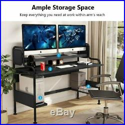 Home Office Gaming Computer Desk with Hutch and Storage Shelves Spacious Destop