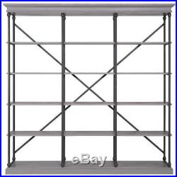 Industrial Bookcase Wall Unit Etagere Wood Metal Rustic Shelving Storage Gray
