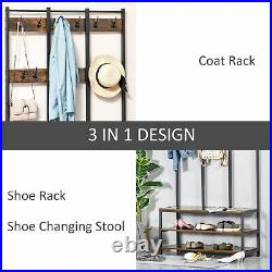 Industrial Coat Rack Shoe Bench Hall Tree Entryway Clothes Storage Shelf With Hook