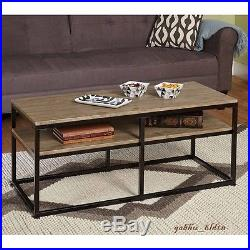 Industrial Coffee Table Reclaimed Wood Metal Storage Shelf Accent Furniture New
