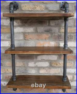 Industrial Pipe Shelf Wall Mount Wooden Display Shelving Floating Storage Retro