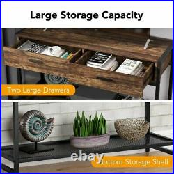 Industrial Sofa Entry Table Living Room TV Stand with Storage Shelves & 2Drawers