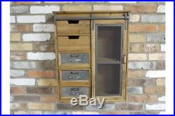 Industrial Style Wall Mounted Storage Unit Mesh door and Shelving area