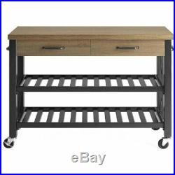Kitchen Island Portable Cart Rustic Table Storage Metal Shelves Drawers TV Stand