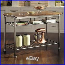 Kitchen Island Stationary Metal Industrial Two Storage Shelves New