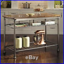Kitchen Islands And Work Stations With Butcher Block Metal Storage Shelves Food