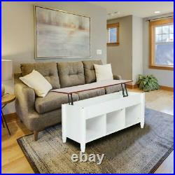 Lift Top Coffee Table Home Furniture withHidden Storage Compartment & Shelf White