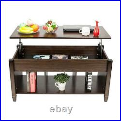 Lift Top Coffee Table with Hidden Compartment Storage Shelf Living Room Furniture