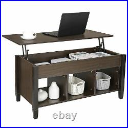 Lift Top Coffee Table with Hidden Storage Compartment Shelf Tabletop Table