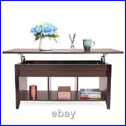 Lift Top Coffee Table withHidden Compartment and Storage Shelves Furniture, Wooden