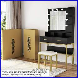 Makeup Vanity Set Dressing Table with Lighted Mirror & Stool & Storage Shelves
