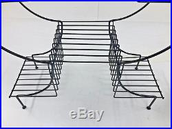 Mid Century Modern RECORD RACK storage metal vintage 50s wire plant stand table