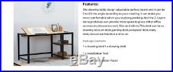 Modern Adjustable Drafting Table Office Computer Desk With 2-Tier Storage Shelves