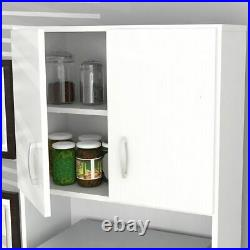 NEW Tall Kitchen Microwave Cart White Utility Cabinet Storage Shelves Cupboard