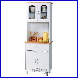 NEW Tall Kitchen Microwave Stand White Utility Cabinet Storage Shelves Cupboard