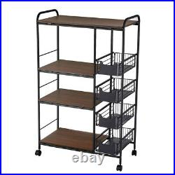 New 4 Tier Kitchen Rack Microwave Oven Stand Storage Cart Shelf US Stock Y9V1